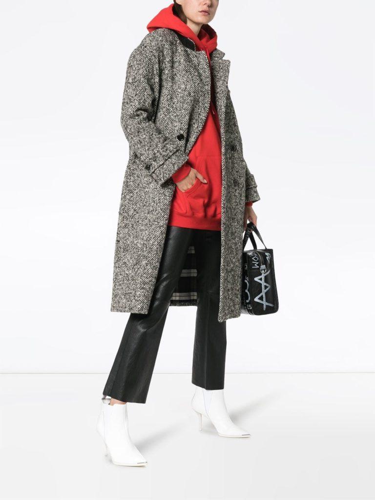 двубортное твидовое пальто