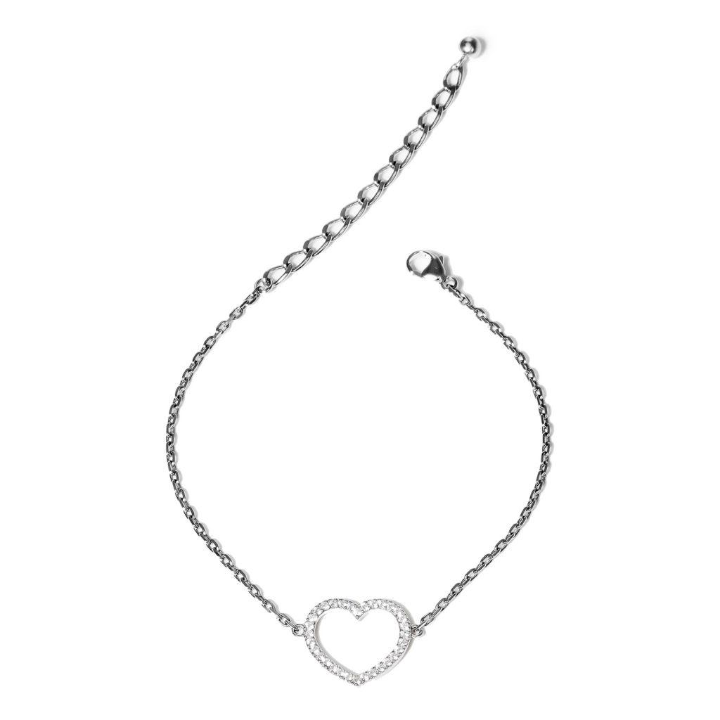Wanna?Be! Серебряный браслет-цепь «Сердце» с цирконием