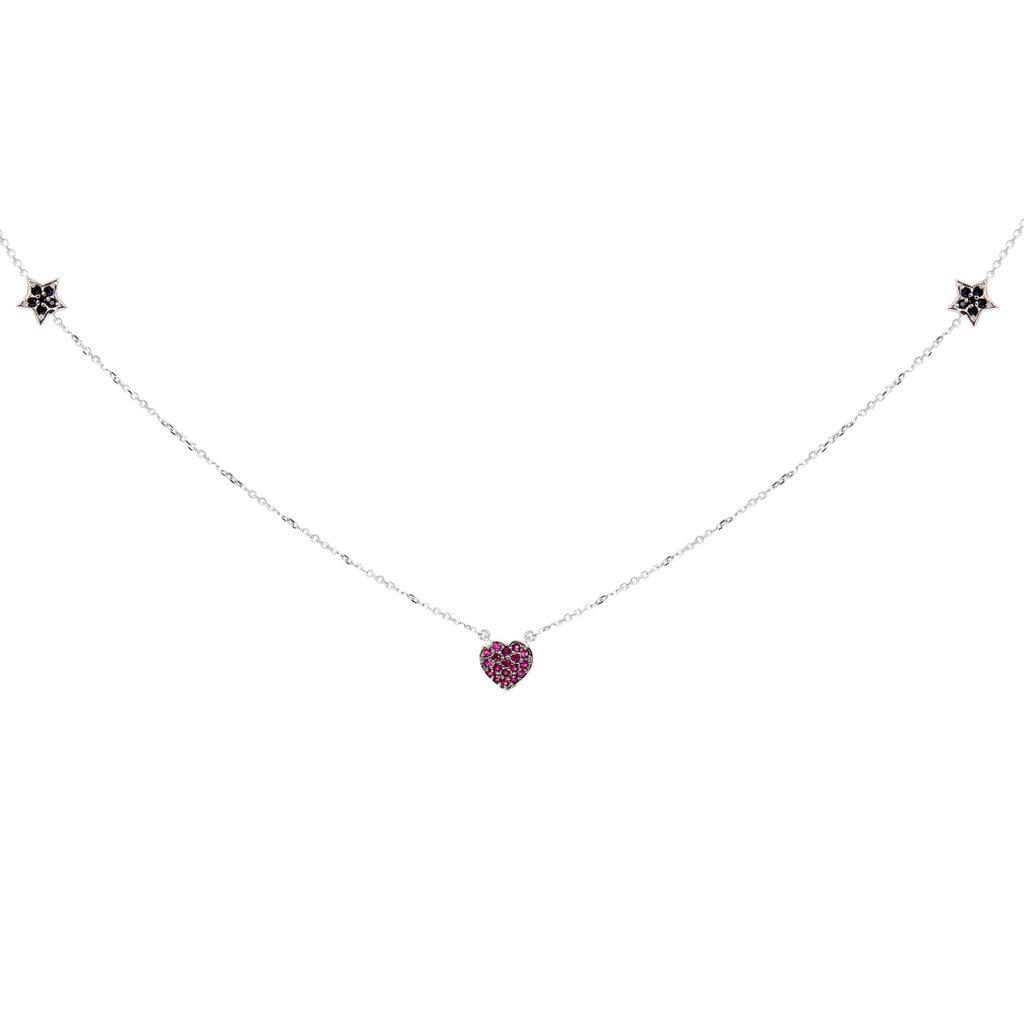 Herald Percy Diamonds Колье-чокер со звёздами и сердцем из белого золота