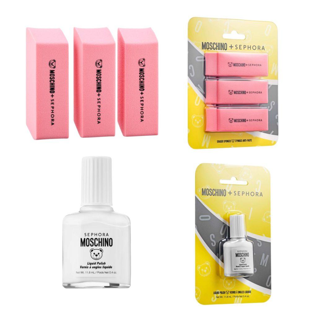 спонжи для макияжа, белый лак для ногтей, Moschino х Sephora