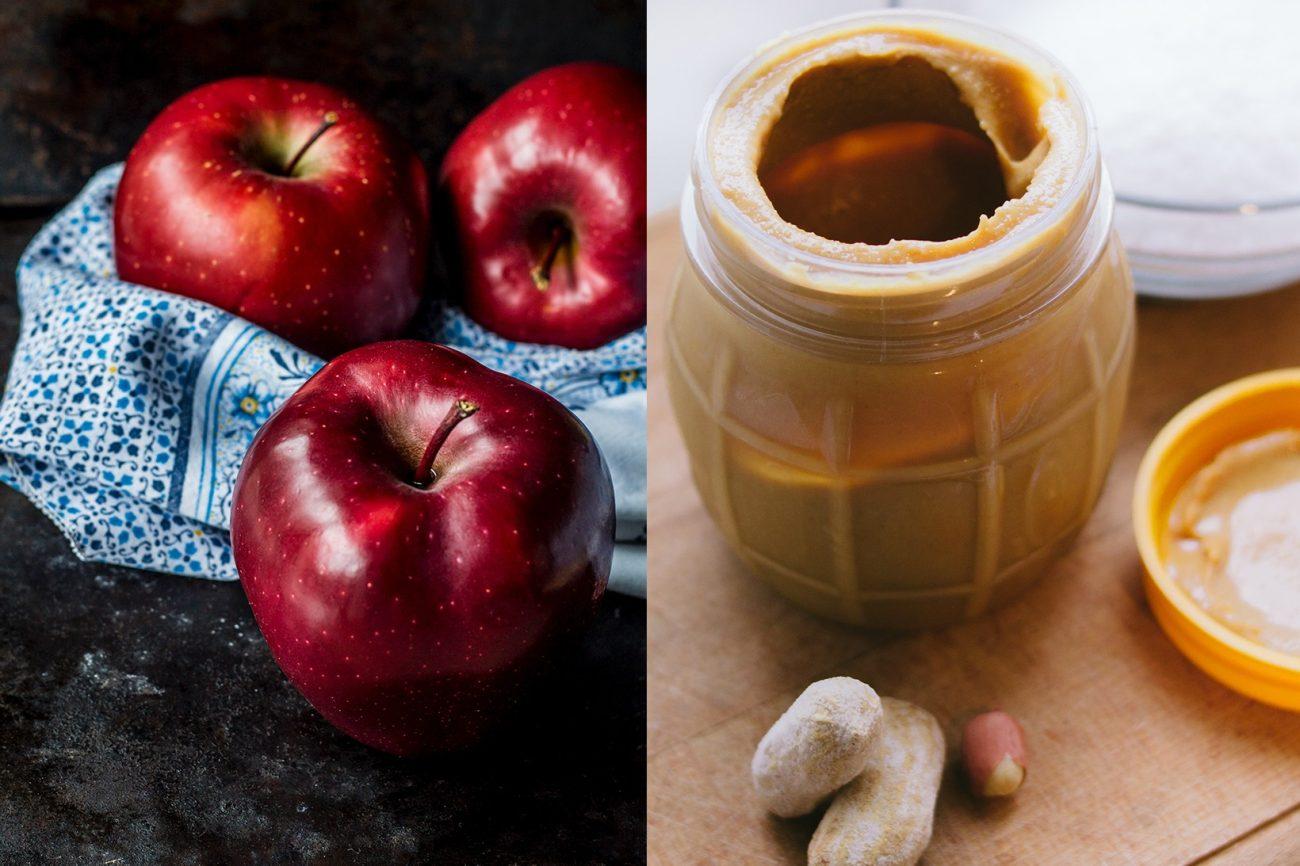 яблоки, арахисовая паста