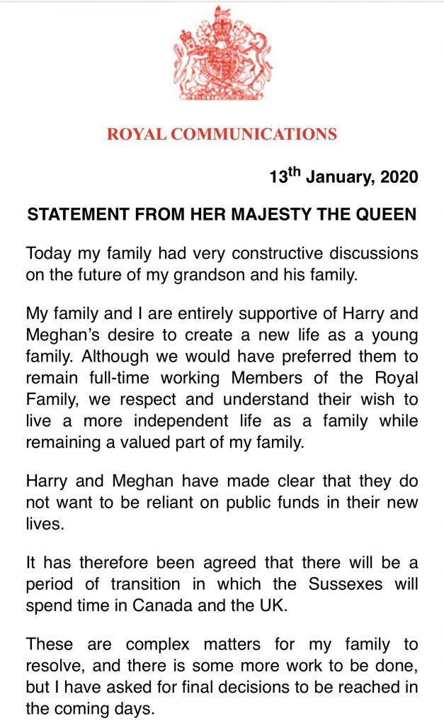 завление королевы Елизаветы по отречению принца Гарри и Меган, 13.01.2020
